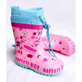 Bl&Ki Botas de chuva de borracha para crianças rosa coelho hippity hop 3