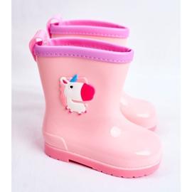 Botas de chuva de borracha para crianças Pink Unicorn rosa 1