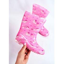 Botas de chuva de borracha para crianças Pink Unicorn rosa 3
