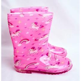 Botas de chuva de borracha para crianças Pink Unicorn rosa 2