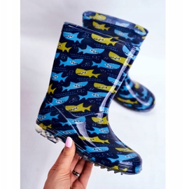 Botas de chuva de borracha para crianças. Azul marinho Shark 3