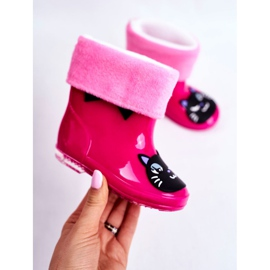 Botas de chuva de borracha infantil gato rosa preto 2