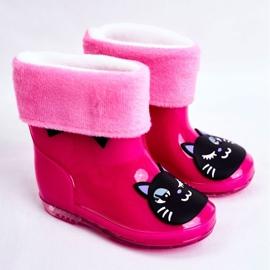 Botas de chuva de borracha infantil gato rosa preto 1