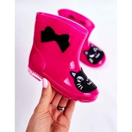 Botas de chuva de borracha infantil gato rosa preto 4