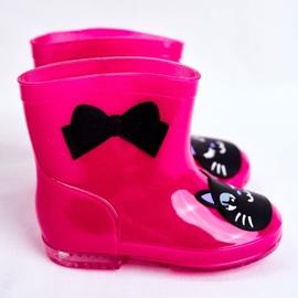 Botas de chuva de borracha infantil gato rosa preto 3