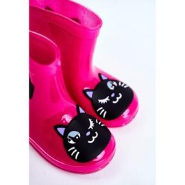 Botas de chuva de borracha infantil gato rosa preto 5