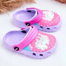 Chinelos infantis Espuma Crocs Pôneis Violeta roxo 1