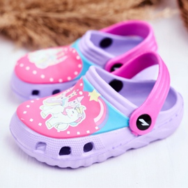 Chinelos infantis Espuma Crocs Pôneis Violeta roxo 3
