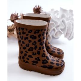 FRROCK Botas infantis de borracha marrom com estampa de leopardo Nanny castanho preto 2