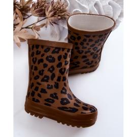FRROCK Botas infantis de borracha marrom com estampa de leopardo Nanny castanho preto 4
