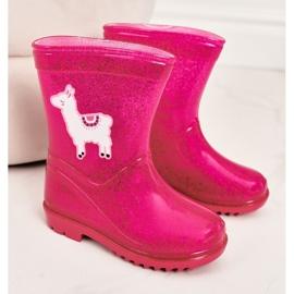 Galochas de brocado infantil com lama rosa 2