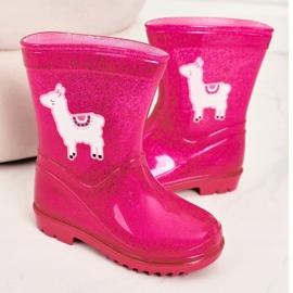 Galochas de brocado infantil com lama rosa 3
