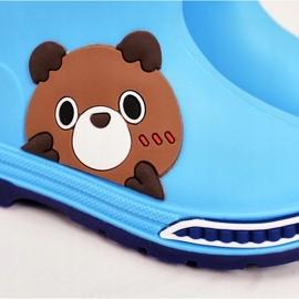 Galochas infantis com ursinho de pelúcia azul claro 1