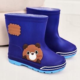 Botas de chuva infantil com ursinho de pelúcia azul marinho 2