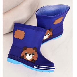 Botas de chuva infantil com ursinho de pelúcia azul marinho 4