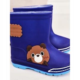 Botas de chuva infantil com ursinho de pelúcia azul marinho 1