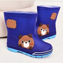 Botas de chuva infantil com ursinho de pelúcia azul marinho 3