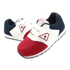 American Club Calçados esportivos com inserção de couro americano BS01 BS02 vermelho branco azul marinho 2