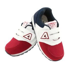 American Club Calçados esportivos com inserção de couro americano BS01 BS02 vermelho branco azul marinho 3