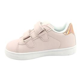 American Club Sapatos de velcro flores ES22 / 21 rosa pó dourado 1