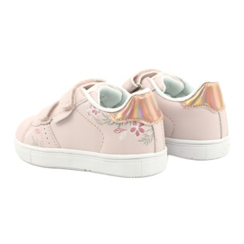 American Club Sapatos de velcro flores ES22 / 21 rosa pó dourado 5