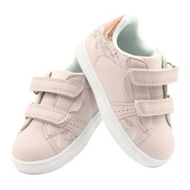 American Club Sapatos de velcro flores ES22 / 21 rosa pó dourado 4