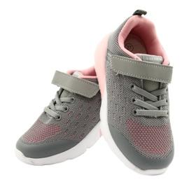 American Club Calçados femininos esportivos com velcro RL12 / 21 cinza rosa 4