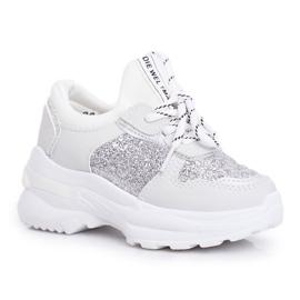 FRROCK Calçado desportivo infantil com brocado prateado Matylda branco prata cinza 3