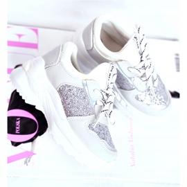 FRROCK Calçado desportivo infantil com brocado prateado Matylda branco prata cinza 2