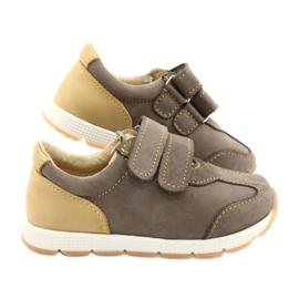 Sapatos casuais masculinos de couro Mazurek 1362 Velcro castanho amarelo 4