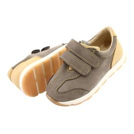 Sapatos casuais masculinos de couro Mazurek 1362 Velcro castanho amarelo 2
