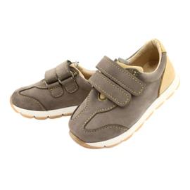 Sapatos casuais masculinos de couro Mazurek 1362 Velcro castanho amarelo 1