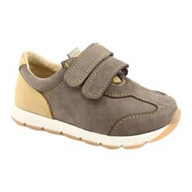 Sapatos casuais masculinos de couro Mazurek 1362 Velcro castanho amarelo 5