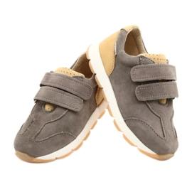 Sapatos casuais masculinos de couro Mazurek 1362 Velcro castanho amarelo 3