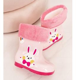 Botas de chuva para crianças com coelho rosa 4