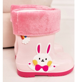 Botas de chuva para crianças com coelho rosa 1