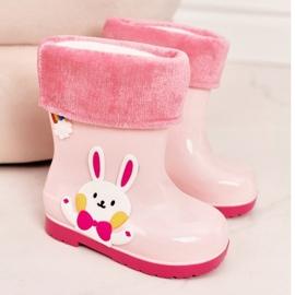 Botas de chuva para crianças com coelho rosa 2