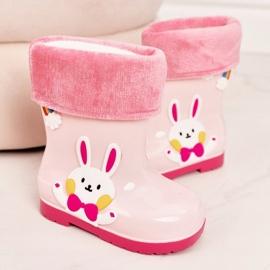 Botas de chuva para crianças com coelho rosa 3
