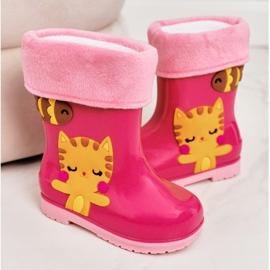 Botas de chuva infantis rosa quente com gatinho 1