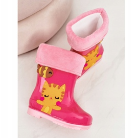 Botas de chuva infantis rosa quente com gatinho 2