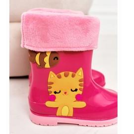 Botas de chuva infantis rosa quente com gatinho 3