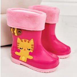 Botas de chuva infantis rosa quente com gatinho 4