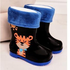 Botas de chuva pretas quentes para crianças com um tigre preto 2