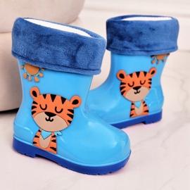 Galochas infantis com isolamento azul e um tigre 3