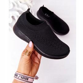 EVE Calçados infantis esportivos pretos deslizantes para viagem escolar 2