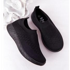 EVE Calçados infantis esportivos pretos deslizantes para viagem escolar 5