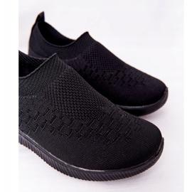 EVE Calçados infantis esportivos pretos deslizantes para viagem escolar 3