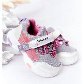 Tênis infantis esportivos branco e rosa Space Ride cinza multicolorido 1