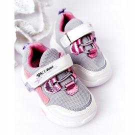 Tênis infantis esportivos branco e rosa Space Ride cinza multicolorido 3