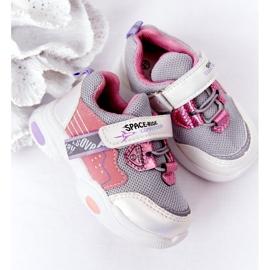 Tênis infantis esportivos branco e rosa Space Ride cinza multicolorido 6